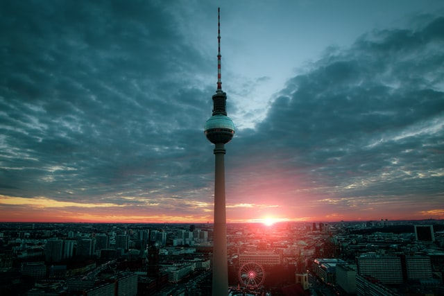 berlin, tv tower, city, sunset